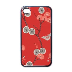 Dandelions Red Butterfly Flower Floral Apple Iphone 4 Case (black)