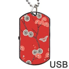 Dandelions Red Butterfly Flower Floral Dog Tag USB Flash (Two Sides)