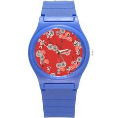 Dandelions Red Butterfly Flower Floral Round Plastic Sport Watch (S)