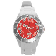 Dandelions Red Butterfly Flower Floral Round Plastic Sport Watch (l)