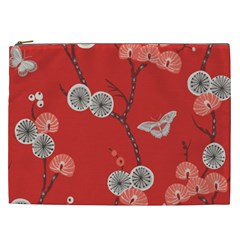 Dandelions Red Butterfly Flower Floral Cosmetic Bag (XXL)