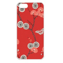 Dandelions Red Butterfly Flower Floral Apple iPhone 5 Seamless Case (White)