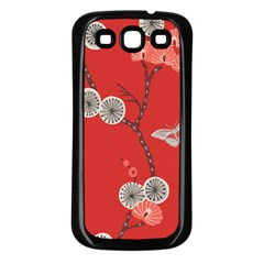 Dandelions Red Butterfly Flower Floral Samsung Galaxy S3 Back Case (Black)