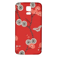 Dandelions Red Butterfly Flower Floral Samsung Galaxy S5 Back Case (White)