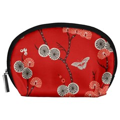 Dandelions Red Butterfly Flower Floral Accessory Pouches (Large)