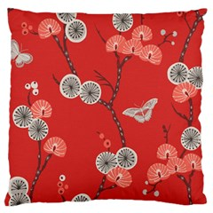 Dandelions Red Butterfly Flower Floral Large Flano Cushion Case (Two Sides)