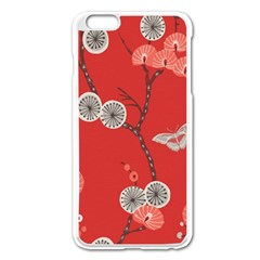 Dandelions Red Butterfly Flower Floral Apple iPhone 6 Plus/6S Plus Enamel White Case