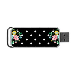 Flower Frame Floral Polkadot White Black Portable USB Flash (One Side)