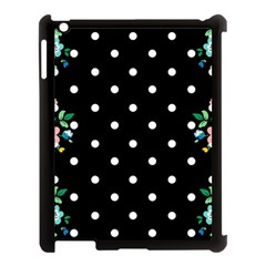 Flower Frame Floral Polkadot White Black Apple iPad 3/4 Case (Black)
