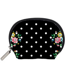 Flower Frame Floral Polkadot White Black Accessory Pouches (small)