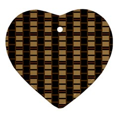 Geometric Shapes Plaid Line Heart Ornament (Two Sides)
