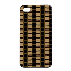 Geometric Shapes Plaid Line Apple iPhone 4/4s Seamless Case (Black)