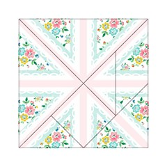 Frame Flower Floral Sunflower Line Acrylic Tangram Puzzle (6  x 6 )