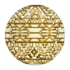 Geometric Seamless Aztec Gold Round Filigree Ornament (Two Sides)