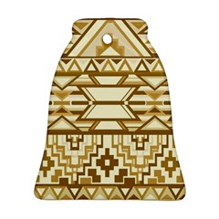 Geometric Seamless Aztec Gold Bell Ornament (Two Sides)