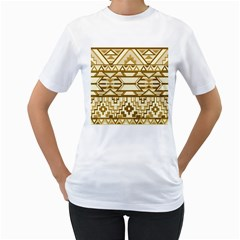 Geometric Seamless Aztec Gold Women s T-Shirt (White)