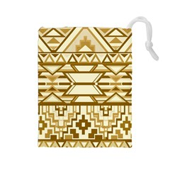 Geometric Seamless Aztec Gold Drawstring Pouches (Large)