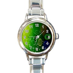 Geometric Shapes Letters Cubes Green Blue Round Italian Charm Watch