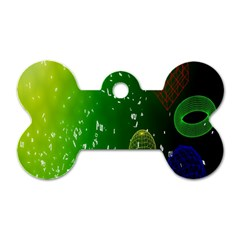 Geometric Shapes Letters Cubes Green Blue Dog Tag Bone (One Side)