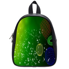 Geometric Shapes Letters Cubes Green Blue School Bags (Small)