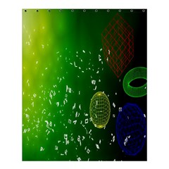 Geometric Shapes Letters Cubes Green Blue Shower Curtain 60  x 72  (Medium)