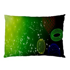 Geometric Shapes Letters Cubes Green Blue Pillow Case (Two Sides)