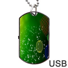 Geometric Shapes Letters Cubes Green Blue Dog Tag USB Flash (Two Sides)