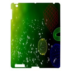 Geometric Shapes Letters Cubes Green Blue Apple iPad 3/4 Hardshell Case