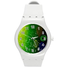 Geometric Shapes Letters Cubes Green Blue Round Plastic Sport Watch (M)