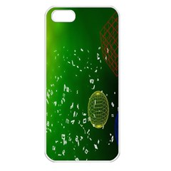 Geometric Shapes Letters Cubes Green Blue Apple iPhone 5 Seamless Case (White)
