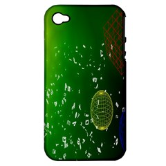 Geometric Shapes Letters Cubes Green Blue Apple iPhone 4/4S Hardshell Case (PC+Silicone)