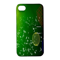 Geometric Shapes Letters Cubes Green Blue Apple iPhone 4/4S Hardshell Case with Stand