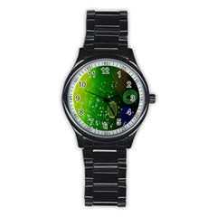 Geometric Shapes Letters Cubes Green Blue Stainless Steel Round Watch