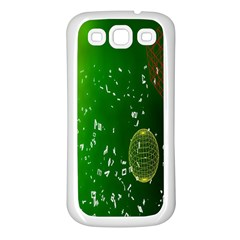 Geometric Shapes Letters Cubes Green Blue Samsung Galaxy S3 Back Case (white)