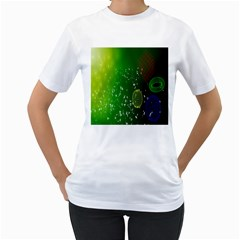 Geometric Shapes Letters Cubes Green Blue Women s T-Shirt (White)
