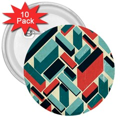 German Synth Stock Music Plaid 3  Buttons (10 Pack)