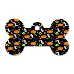 Ghost Pumkin Craft Halloween Hearts Dog Tag Bone (One Side)