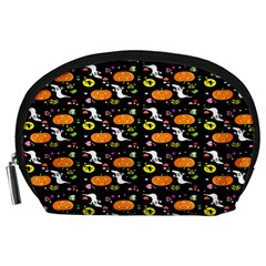 Ghost Pumkin Craft Halloween Hearts Accessory Pouches (Large)