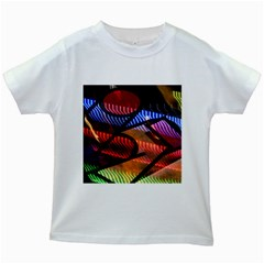 Graphic Shapes Experimental Rainbow Color Kids White T-Shirts