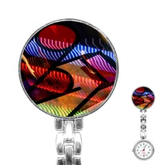 Graphic Shapes Experimental Rainbow Color Stainless Steel Nurses Watch