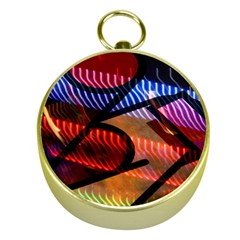Graphic Shapes Experimental Rainbow Color Gold Compasses