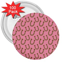 Horse Shoes Iron Pink Brown 3  Buttons (100 pack)
