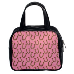 Horse Shoes Iron Pink Brown Classic Handbags (2 Sides)