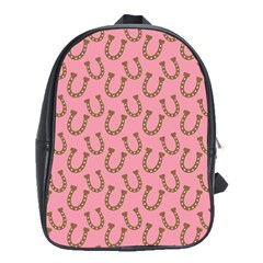 Horse Shoes Iron Pink Brown School Bags(Large)