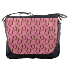 Horse Shoes Iron Pink Brown Messenger Bags