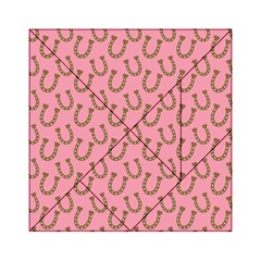 Horse Shoes Iron Pink Brown Acrylic Tangram Puzzle (6  x 6 )