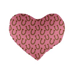 Horse Shoes Iron Pink Brown Standard 16  Premium Flano Heart Shape Cushions