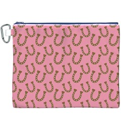 Horse Shoes Iron Pink Brown Canvas Cosmetic Bag (XXXL)