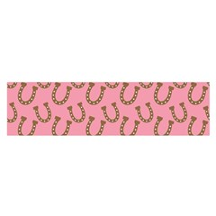 Horse Shoes Iron Pink Brown Satin Scarf (Oblong)