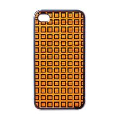 Halloween Squares Plaid Orange Apple iPhone 4 Case (Black)